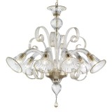 Venezia 6 lights Murano chandelier - transparent gold color