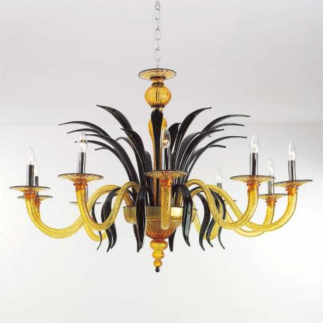 """Darsena"" Murano glass chandelier - 10 lights - amber and black"