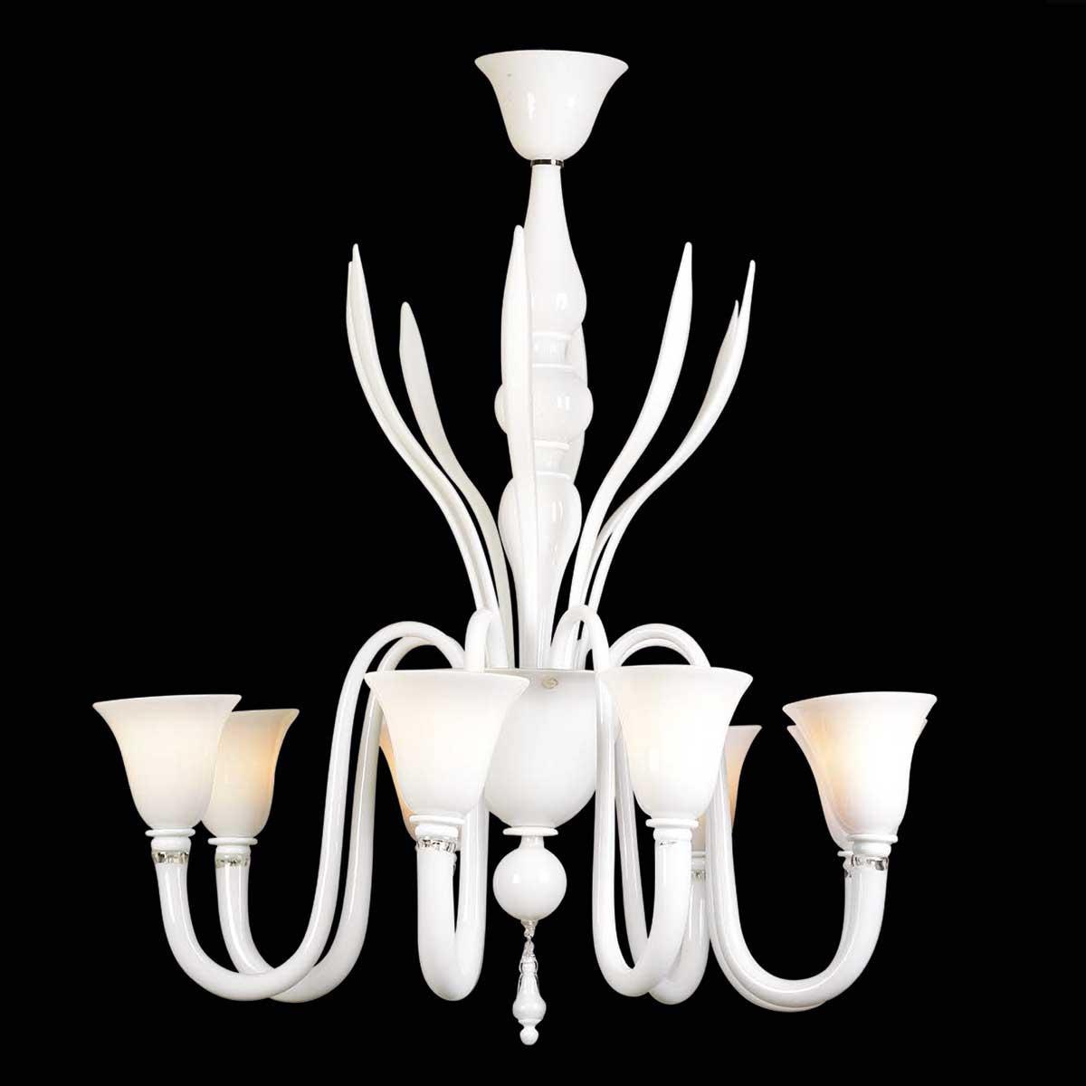 """Salice"" lustre en cristal de Murano - 8 lumières - blanc"