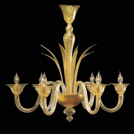 """Aladino"" Murano glass chandelier - 6 lights - gold"