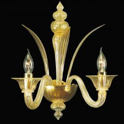"""Aladino"" Murano glass sconce - 2 lights - gold"