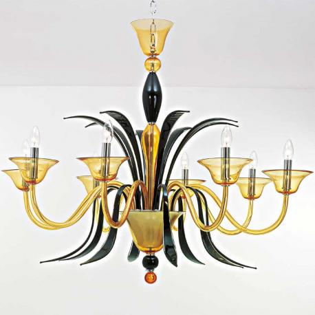 """Baccanti"" Murano glass chandelier - 8 lights - amber and black"