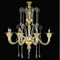 """Pericle"" Murano glass chandelier - 8 lights - gold and transparent"