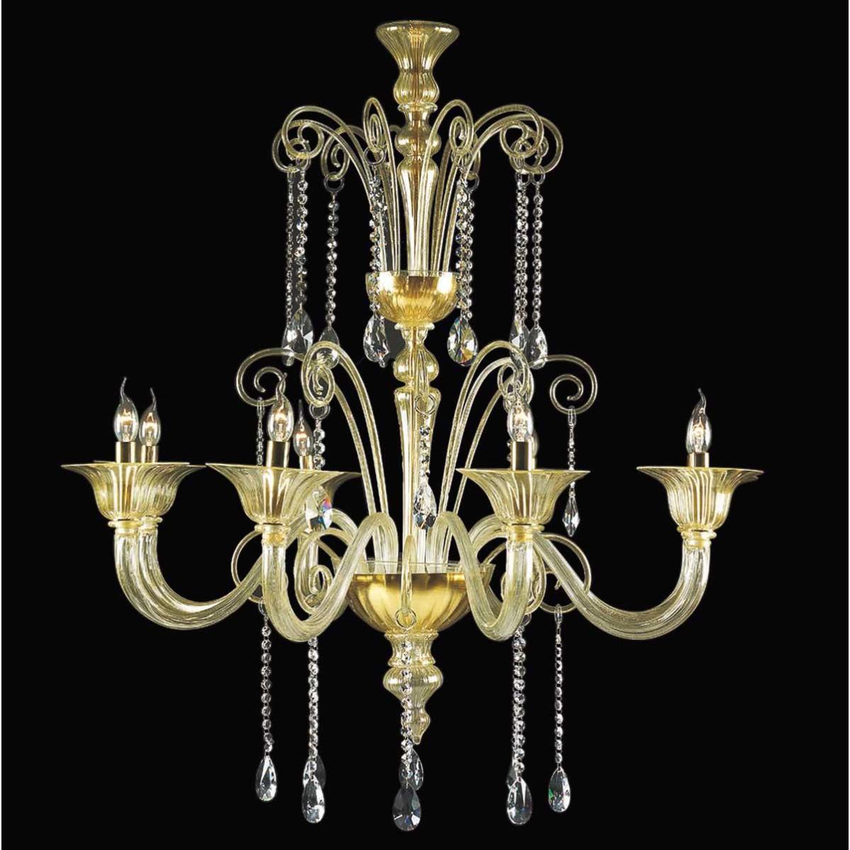 """""""Pericle"""" lustre en cristal de Murano - 8 lumières - or et transparent"""