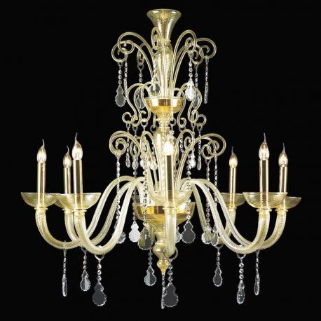 """Callia"" Murano glass chandelier - 8 lights - gold and transparent"