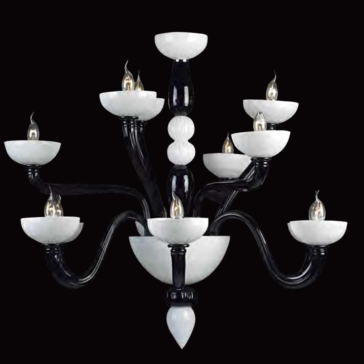 """""""Didone"""" lustre en cristal de Murano - 6+3+3 lumières - noir et blanc"""