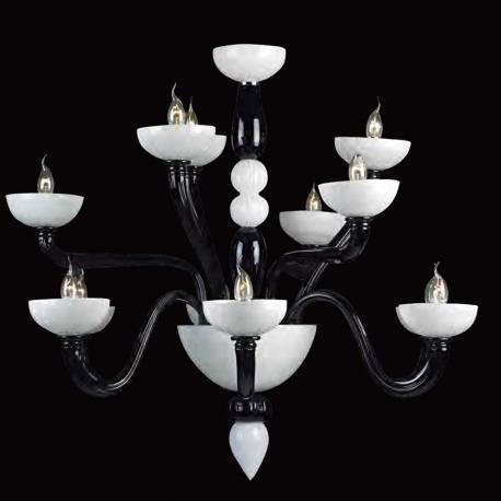 """Didone"" Murano glass chandelier - 6+3+3 lights - black and white"