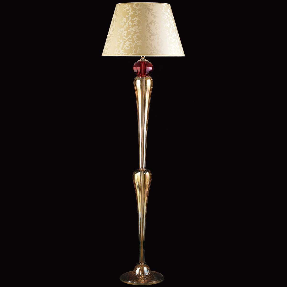 """""""Panegirico"""" lustre en cristal de Murano - 1 lumière - ambre et rouge"""