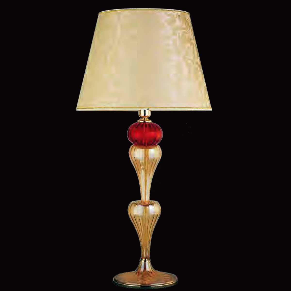 """""""Panegirico"""" lampara de sobremesa de Murano - 1 luce - ámbar y rojo"""