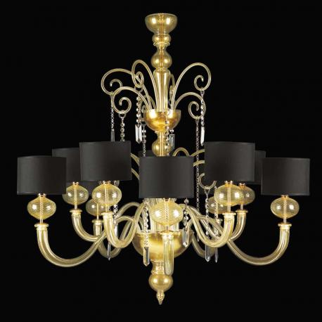 """Matilde"" Murano glass chandelier - 5+5 lights - gold"