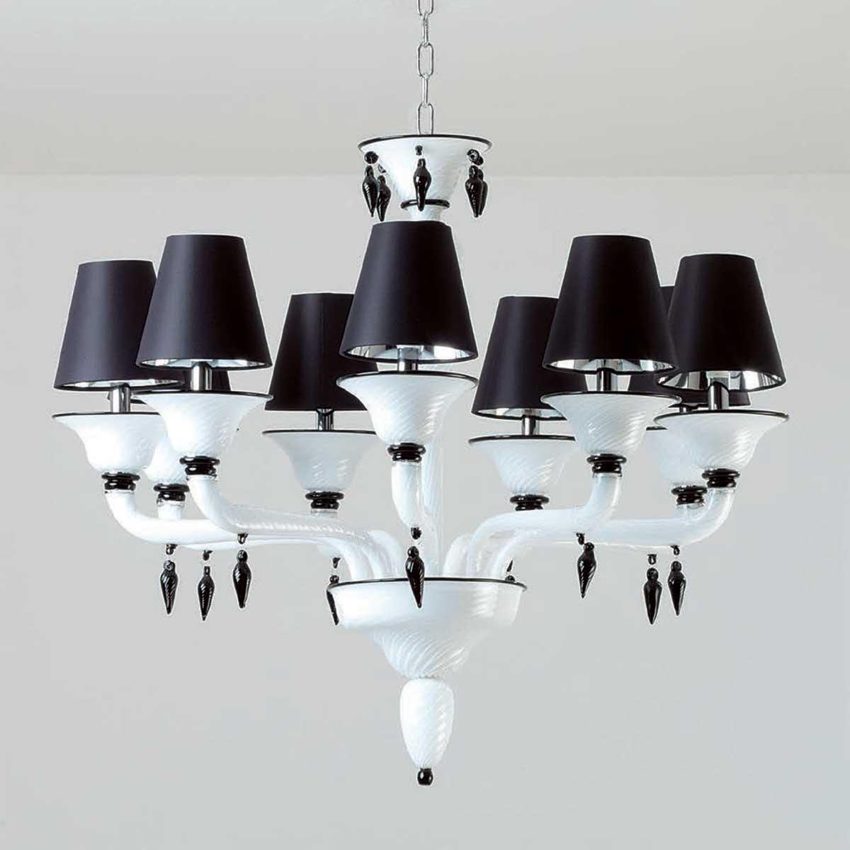 """""""Ofelia"""" lampara de araña de Murano - 9 luces - blanco y negro"""