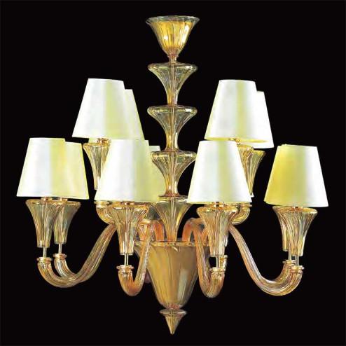 """""""Meridiana"""" lampara de araña de Murano - 8+4 luces - ámbar"""