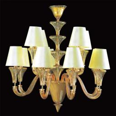 """""""Meridiana"""" lustre en cristal de Murano - 8+4 lumières - ambre"""