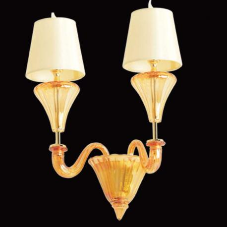 """Meridiana"" Murano glass sconce - 2 lights - amber"