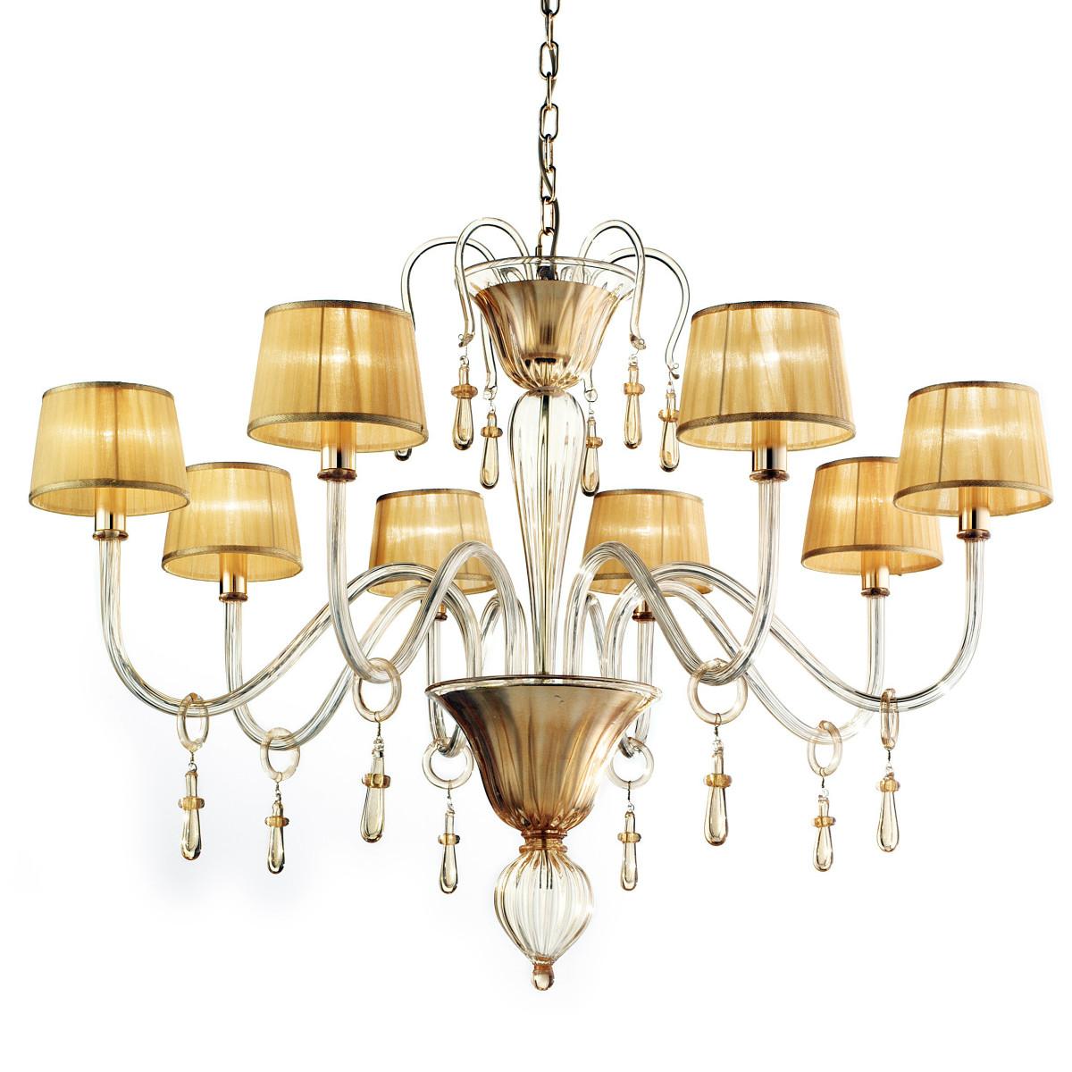 Venier 8 lumières Murano Lustre - couleur entièrement or