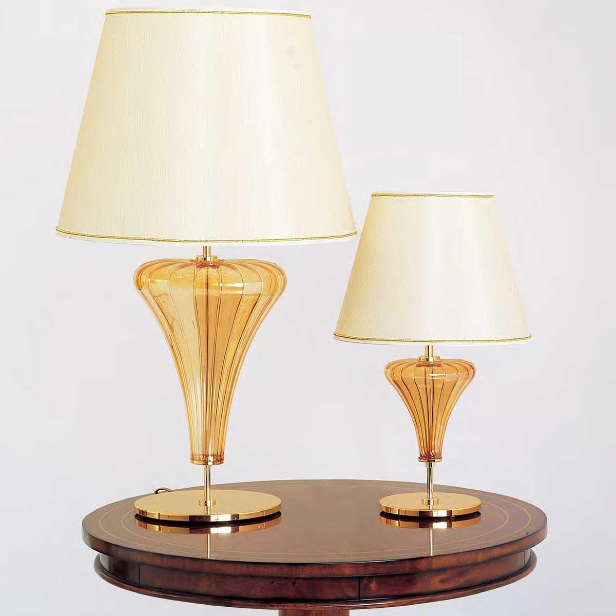 """""""Meridiana"""" lampe de table en verre de Murano - 1 lumière - ambre"""