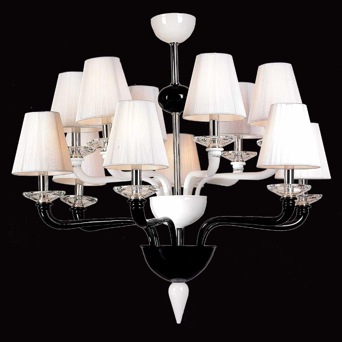 """""""Nora"""" lampara de araña de Murano - 6+6 luces - negro y blanco"""