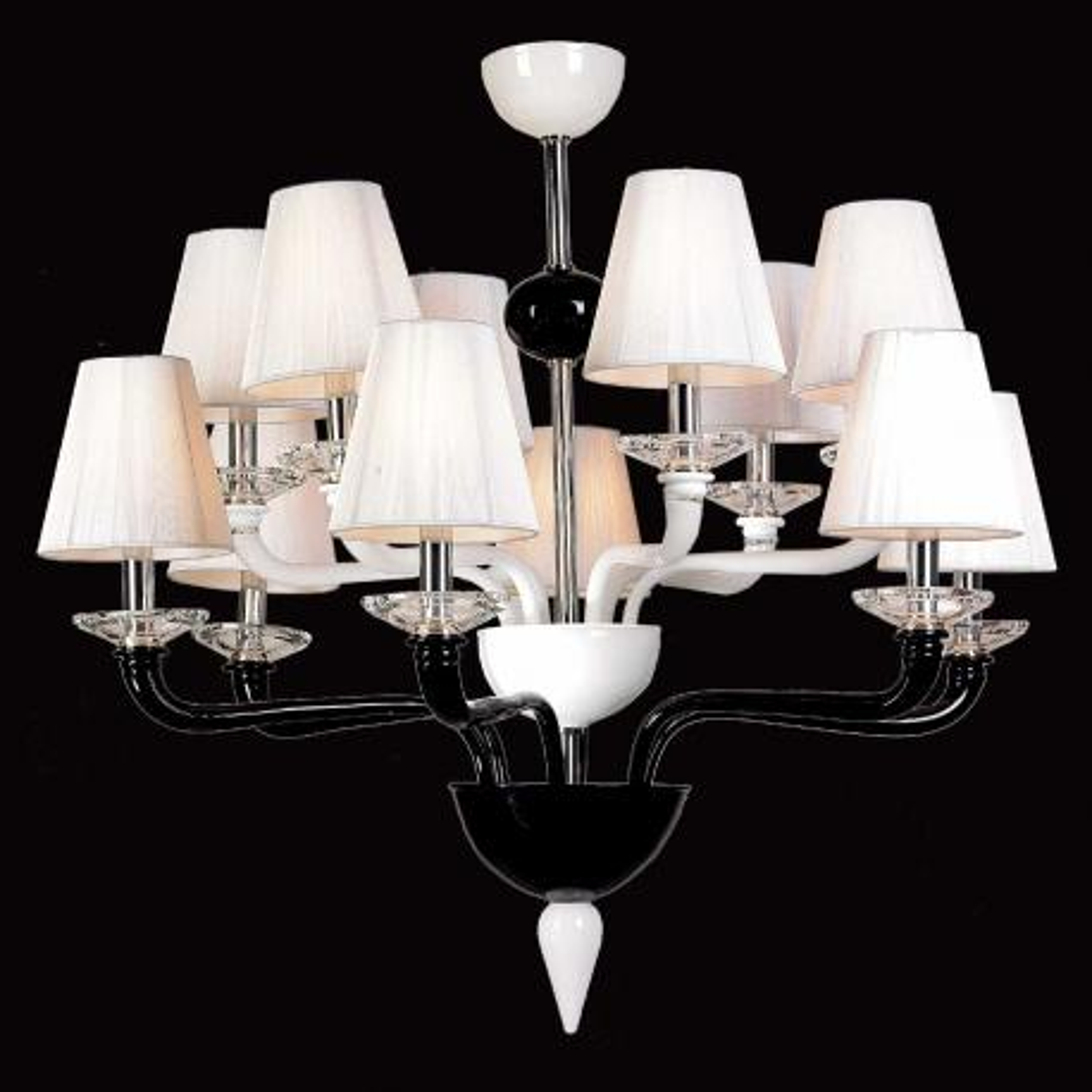 """""""Nora"""" lustre en cristal de Murano - 6+6 lumières - noir et blanc"""