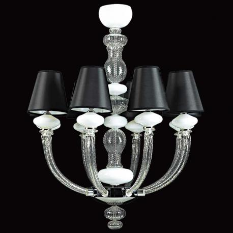 """Astora"" Murano glass chandelier - 8 lights - transparent and white"