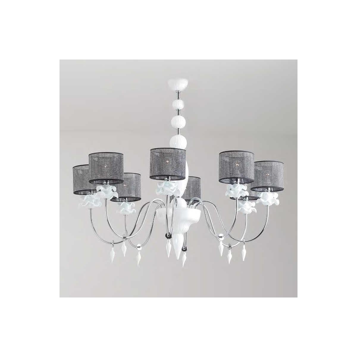 """""""Rachele"""" lustre en cristal de Murano - 8 lumières - blanc"""