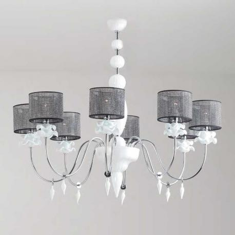 """Rachele"" Murano glass chandelier - 8 lights - white"