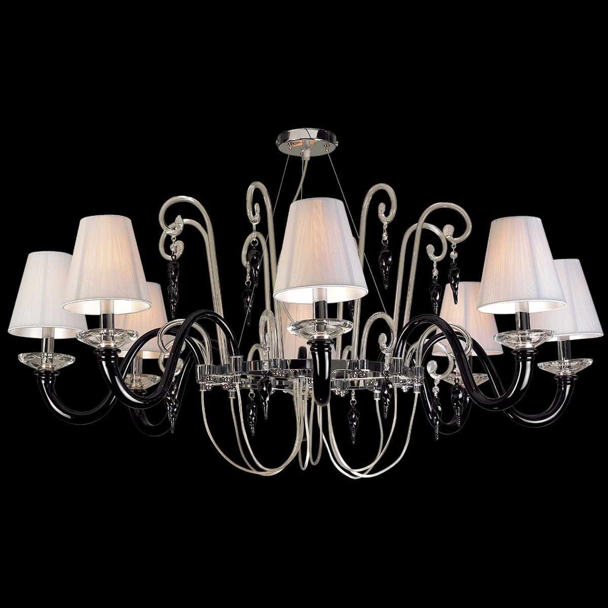 """""""Elisabetta"""" lustre en cristal de Murano - 8 lumières - noir"""