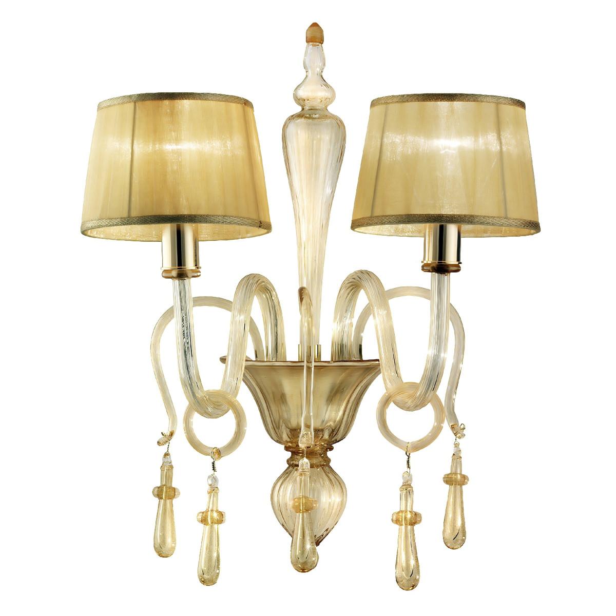 Venier 2 luces aplique de Murano - color todo oro