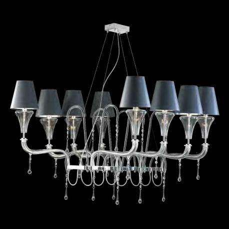 """Giuditta"" Murano glass chandelier - 8 lights - transparent"