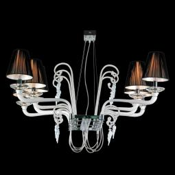 """Giuseppina"" Murano glass chandelier - 8 lights - white"