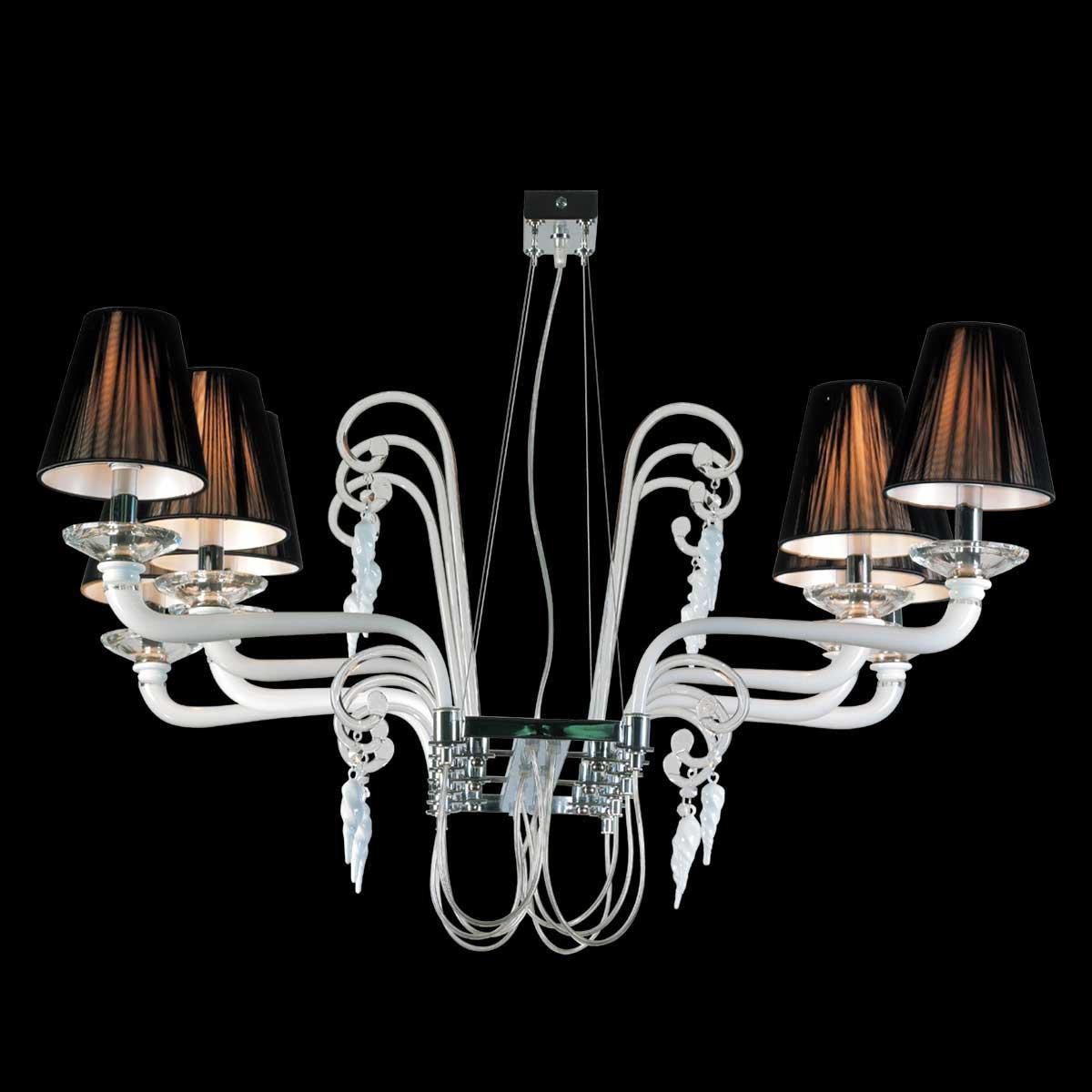 """Giuseppina"" Murano glass chandelier - 8 lights - white"