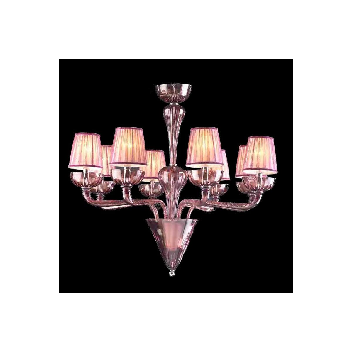 """Naomi"" lustre en cristal de Murano - 8 lumières - améthyste"