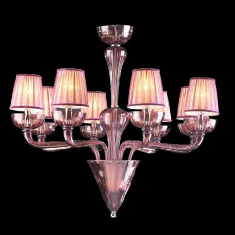 """Naomi"" Murano glass chandelier - 8 lights - amethyst"