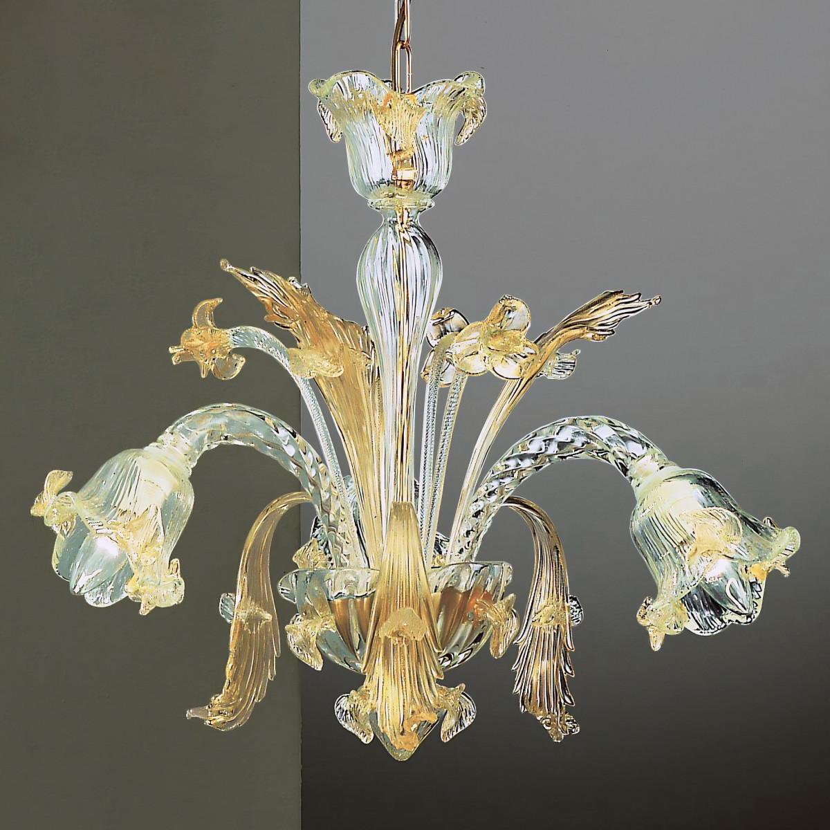 Vivaldi 3 flammig Murano Kronleuchter - transparente Gold Farbe