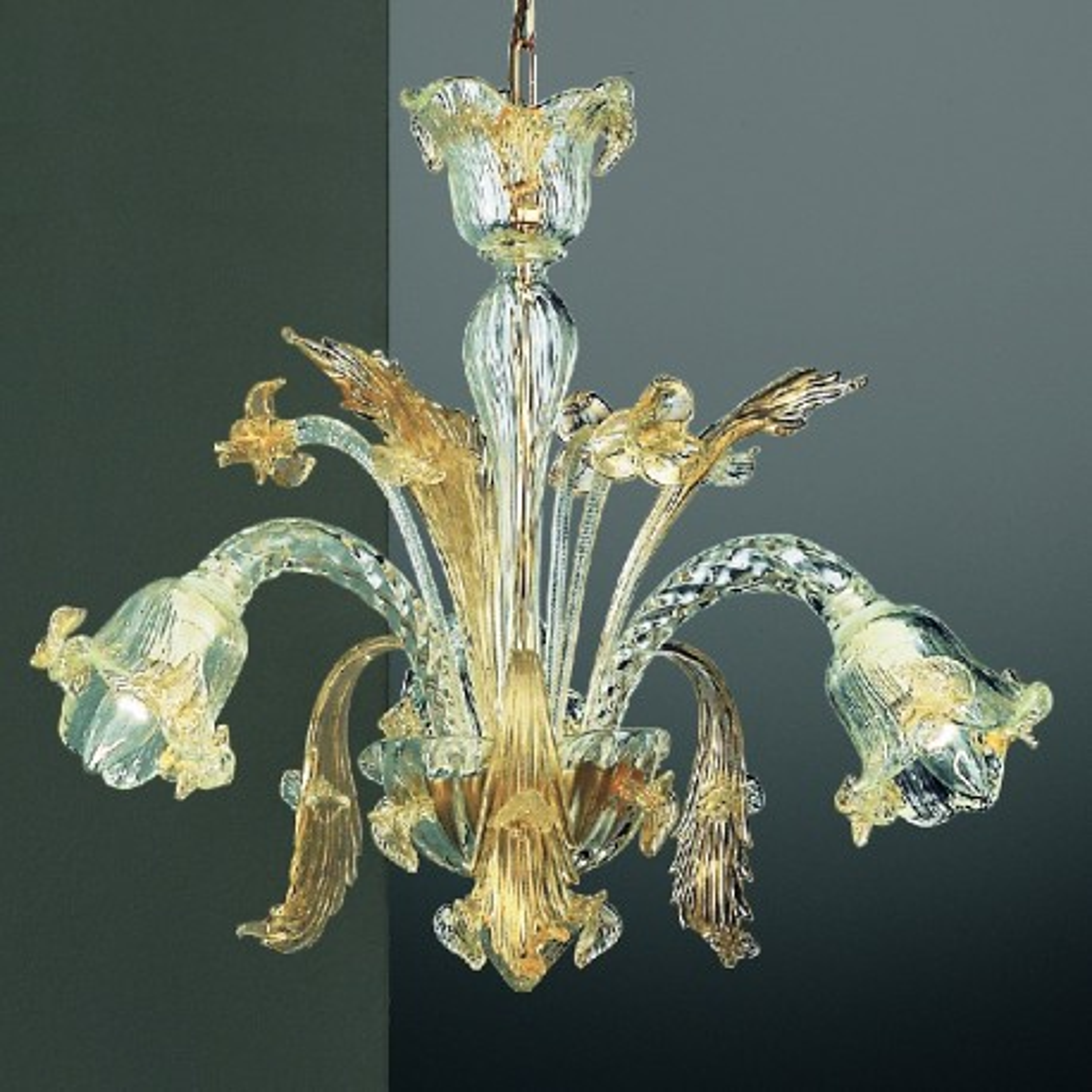 Vivaldi 3 lights Murano chandelier - transparent gold color