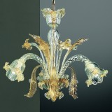Vivaldi 3 lumieres lustre Murano - couleur transparent or