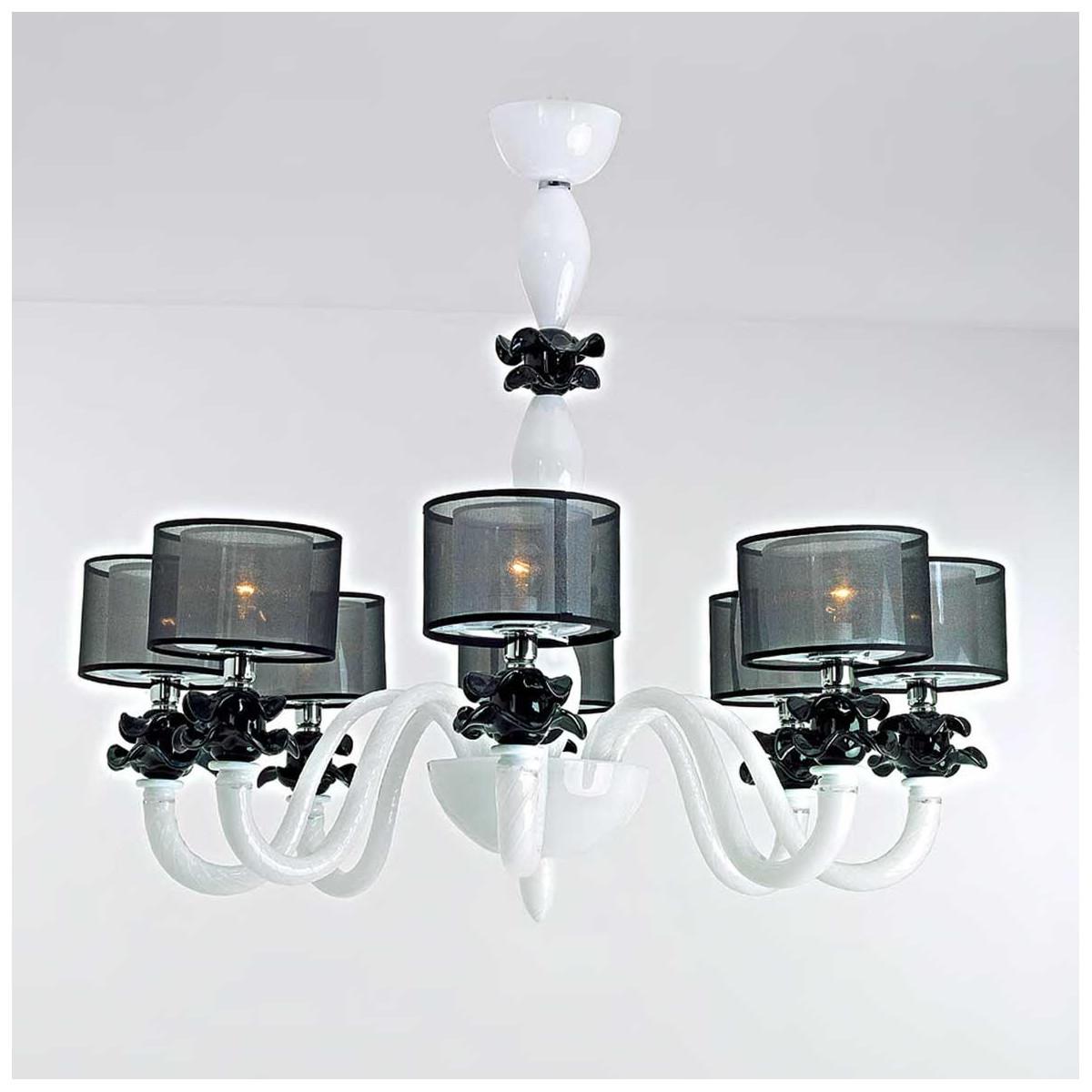 """""""Adele"""" lustre en cristal de Murano - 8 lumières - blanc"""