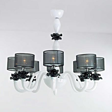 """Adele"" Murano glass chandelier - 8 lights - white"