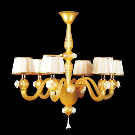 """Ariele"" Murano glass chandelier - 6 lights - amber"