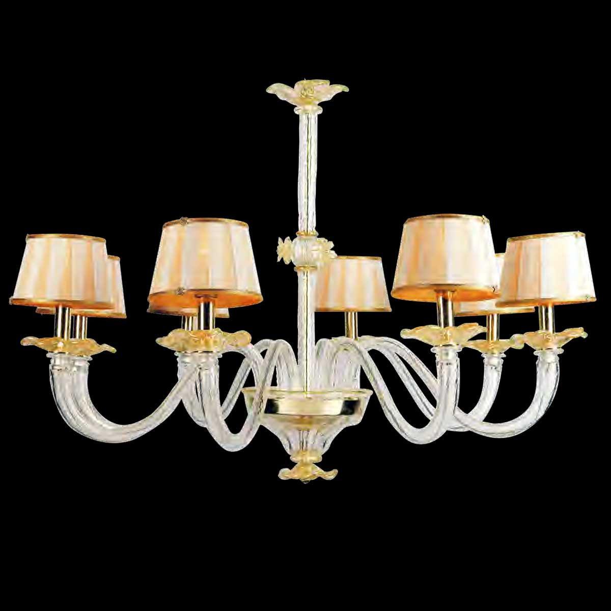 """""""Salomè"""" lustre en cristal de Murano - 8 lumières - transparent et or"""