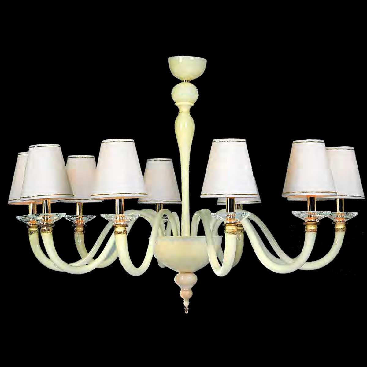 """""""Rebecca"""" lampara de araña de Murano - 10 luces - blanco"""