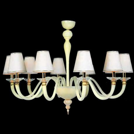 """Rebecca"" Murano glass chandelier - 10 lights - white"