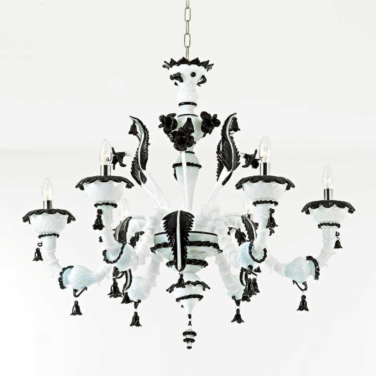"""""""Stefania"""" lustre en cristal de Murano - 6 lumières - blanc et noir"""