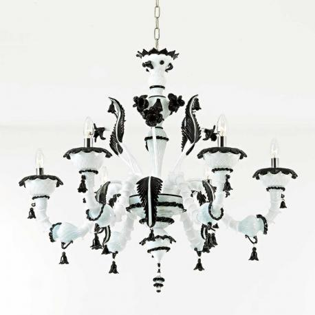 """Stefania"" Murano glass chandelier - 6 lights - white and black"