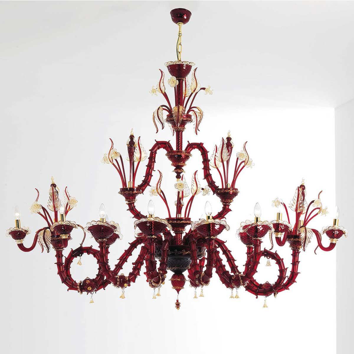 """""""Cleofe"""" lustre en cristal de Murano - 8+3+3 lumières - rouge et or"""