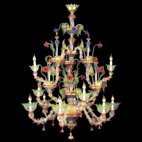 """""""Arboreo"""" lustre en cristal de Murano - 6+3+3 lumières - transparent, multicolor et or"""