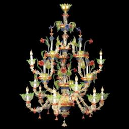 """Arboreo"" Murano glass chandelier - 6+3+3 lights - transparent, multicolor and gold"