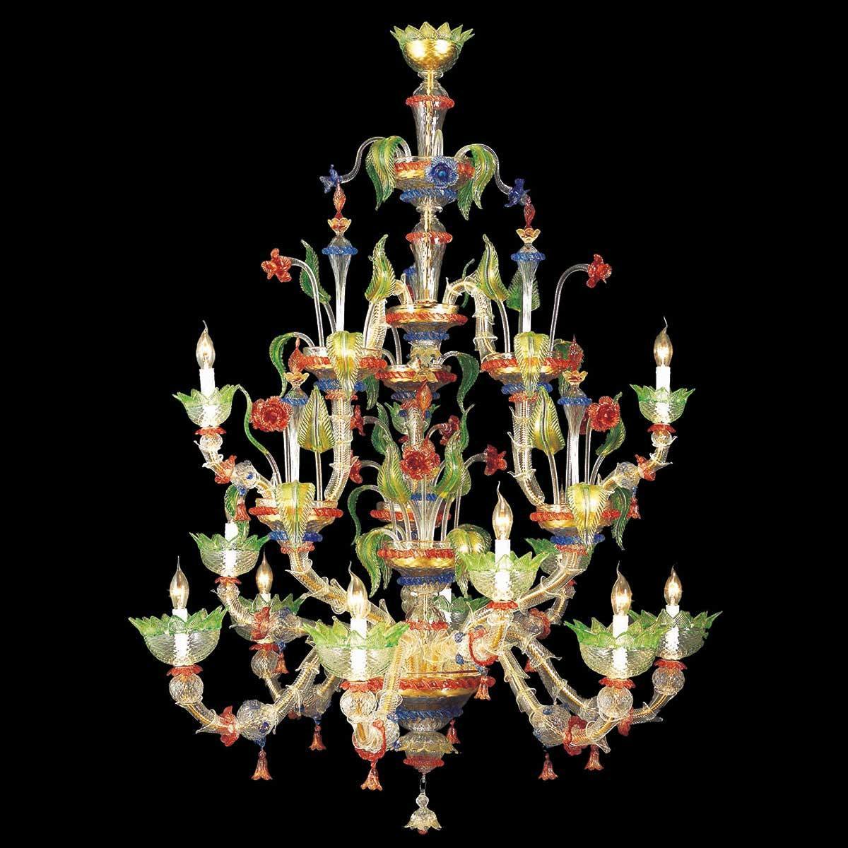 """""""Arboreo"""" lampara de araña de Murano - 6+3+3 luces - transparente, mutlicolor y oro"""