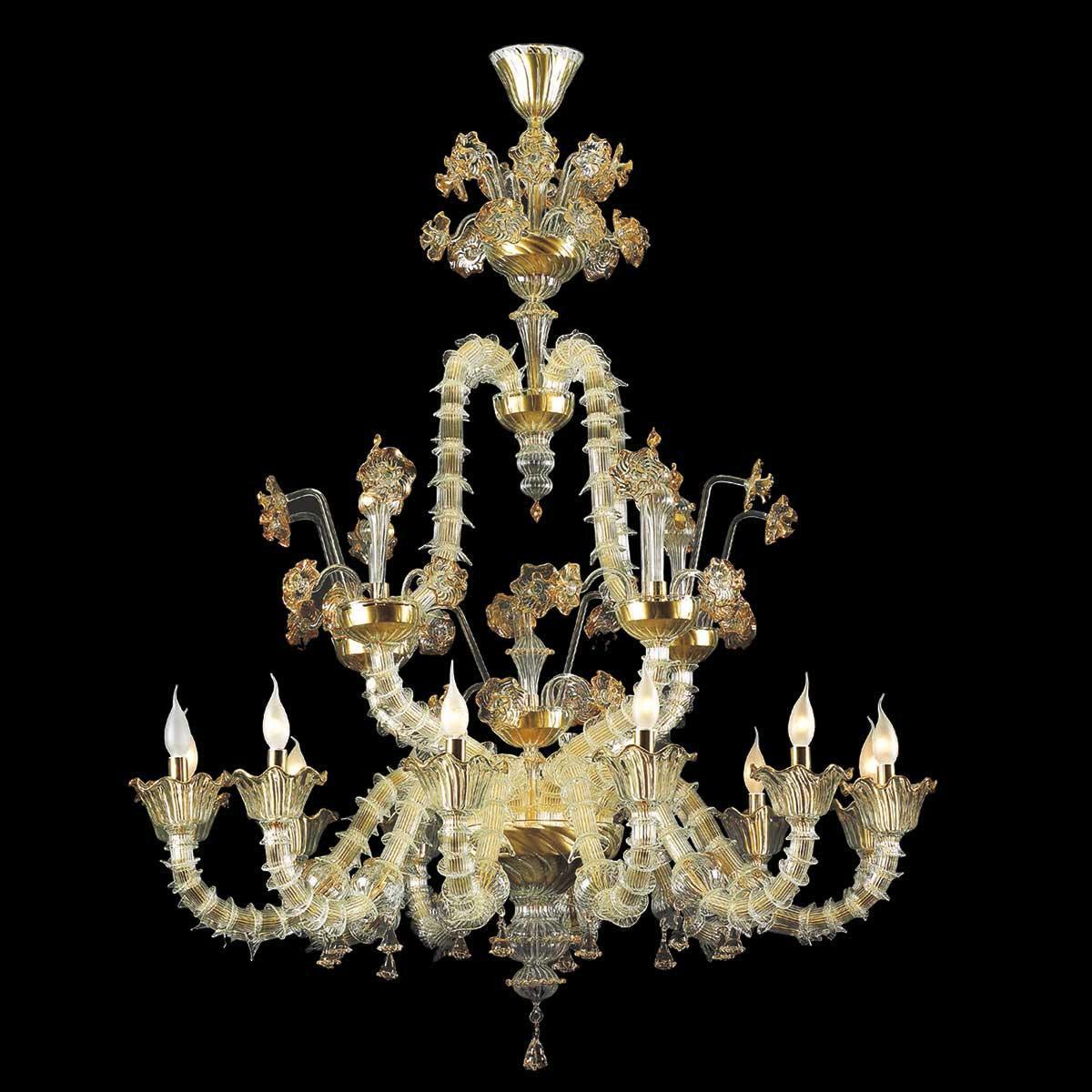 """Merovingio"" lustre en cristal de Murano - 12 lumières - transparent et or"