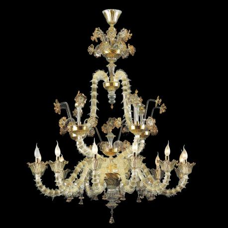 """Merovingio"" Murano glass chandelier - 12 lights - transparent and gold"