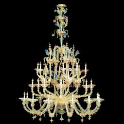 """Ester"" Murano glass chandelier - 12+8+8 lights - transparent, multicolor and gold"
